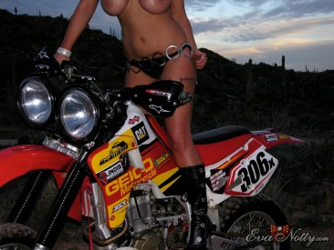 PHOTO | Eva Notty motorcyle ride 10 366x275 - Eva Notty's big titties on a dirt bike ride through the desert may cause quakes
