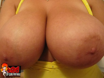 PHOTO   busty ex girlfriend 15 366x275 - Big breasted blonde ex girlfriend can suck her own nipples