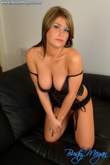 PHOTO | busty megan couch 5 366x549 - Busty Megan takes off her black lingerie and seduces the camera
