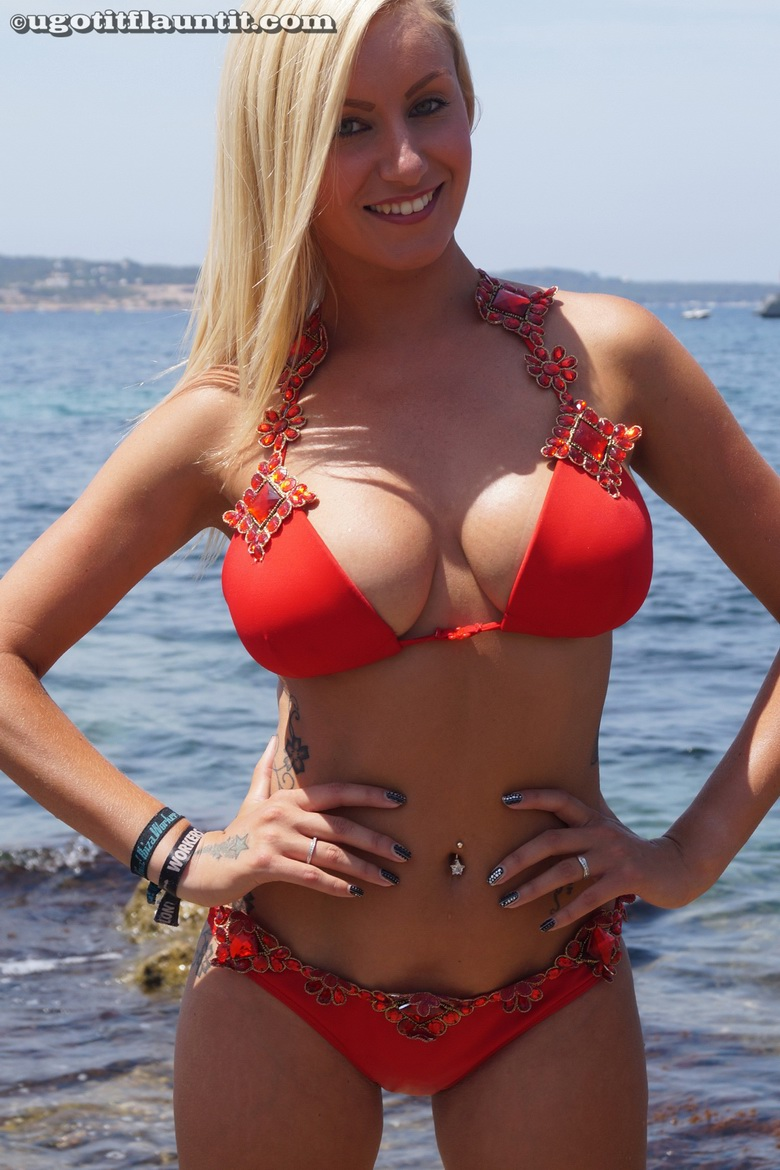 PHOTO | 08 - Busty Beach Blonde, Rachael, Teases You with her Huge Knockers