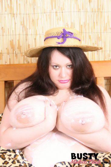 PHOTO | 8 15 366x549 - MILK AND CREAMED! Madison Blush Lubes up those TITANIC-TITs! Dairy Style!