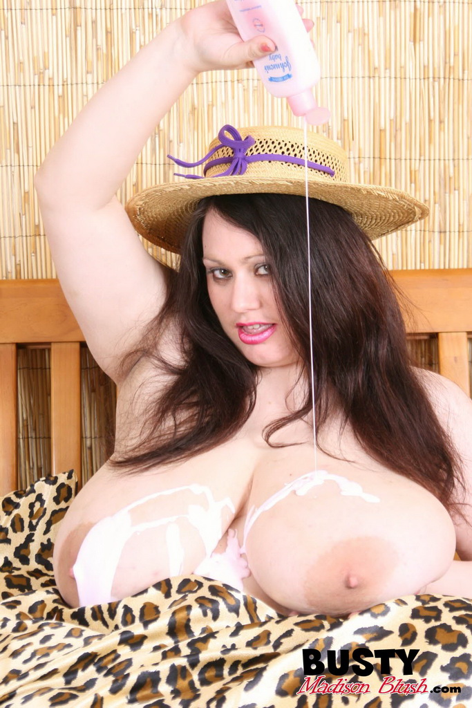 PHOTO | 9 15 - MILK AND CREAMED! Madison Blush Lubes up those TITANIC-TITs! Dairy Style!