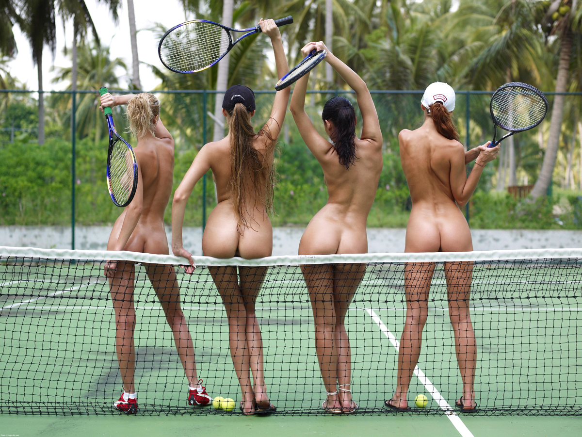 PHOTO   00 68 - Tight Oiled Babes Playing Tennis