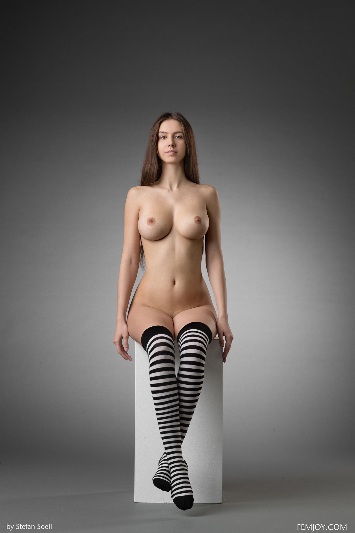 PHOTO   00 85 - Busty Alisa I in Striped Stockings