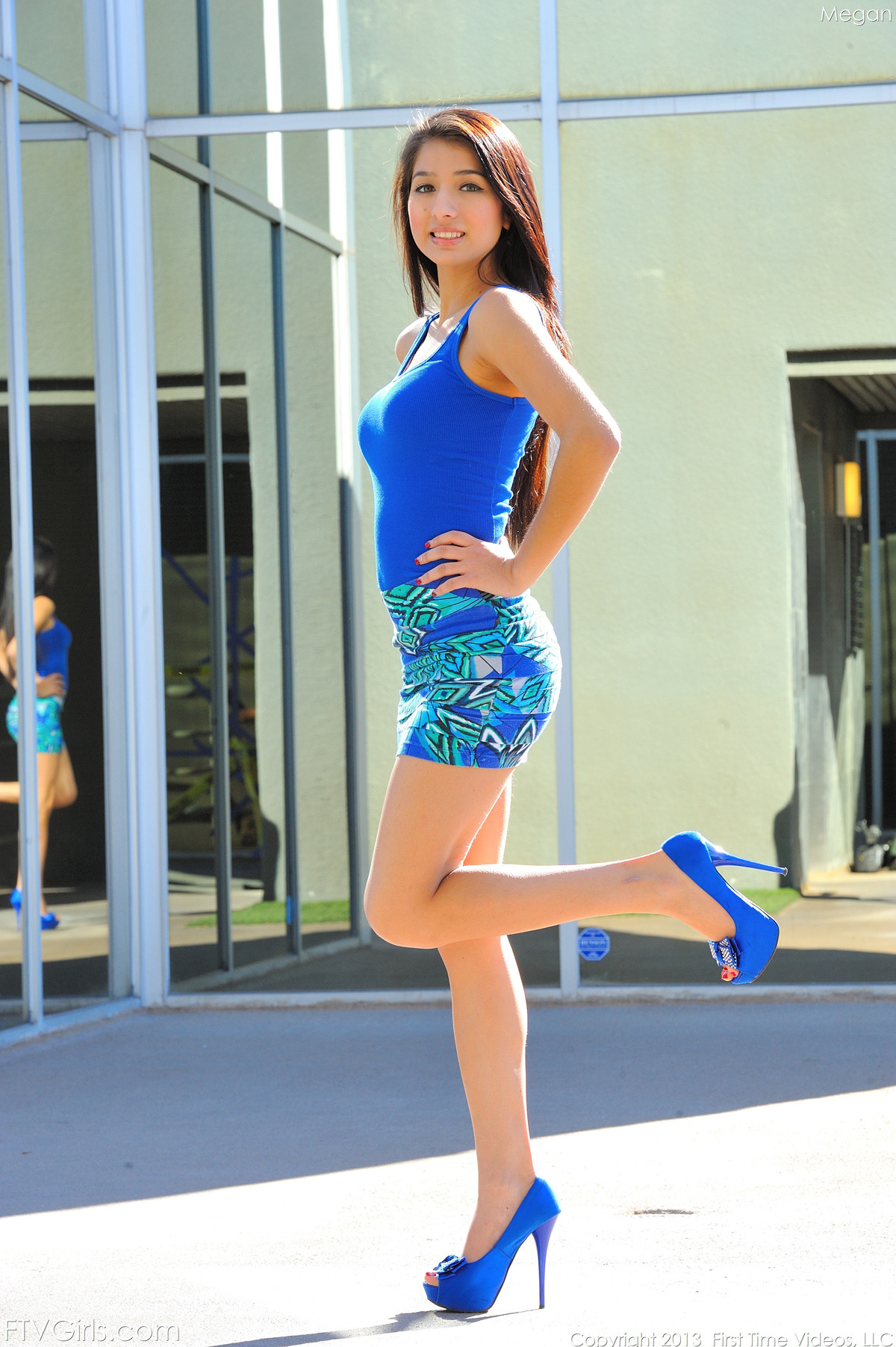PHOTO   00 14 - Megan in Blue Dress and High Heels