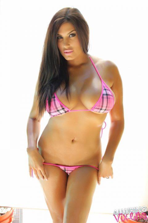 PHOTO | 00 231 480x720 - Stunning Alluring Vixen Babe Kristin Shows Off Her Big Boobs In A Very Skimpy Pink Plaid String Bikini
